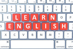 Hete sleutel voor Learn het Engels op Modern Computertoetsenbord Hoogste mening Stock Foto's
