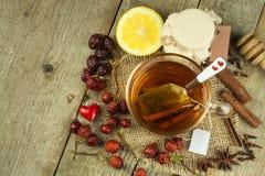 Hete thee voor koude Traditionele huisbehandeling voor koude en griep Rozebottelthee, honing en citrusvrucht Huisapotheek Royalty-vrije Stock Fotografie