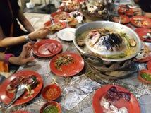 Hete Varkensvleeswinkel in Bangkok royalty-vrije stock foto