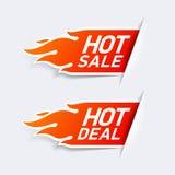 Hete Verkoop en Hete Overeenkomstenetiketten Stock Afbeelding