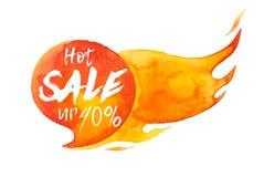 Hete verkoopinschrijving omhoog 40 op hete brandende die toespraakbel, waterverf verkoop-uit teken op wit wordt geïsoleerd stock illustratie