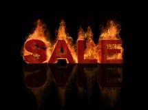 Hete verkooptitel met vlam het branden effect en refle Stock Afbeelding