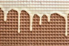 Hete witte chocolade op wafeltje, close-up stock foto
