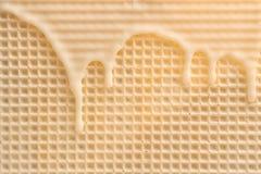 Hete witte chocolade op wafeltje, close-up royalty-vrije stock afbeelding