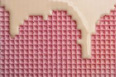 Hete witte chocolade op wafeltje, close-up Knapperig voedsel stock foto's