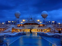 Heted pool at night. Heated pool on the cruise ship at night Royalty Free Stock Images