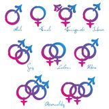 Hetero för lesbisk kvinna för LGBT-symboler glad förälskelse Arkivfoto