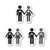 Hetero, gay, and lesbian love couples labels set Royalty Free Stock Image