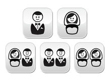 Hetero, gay or lesbian wedding buttons set Royalty Free Stock Images