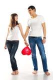 Heteroseksueel paar met een groot hart Stock Afbeelding