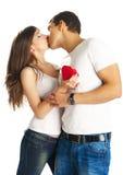 Heteroseksueel paar met een hart Stock Foto