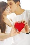 Heteroseksueel paar met een hart Royalty-vrije Stock Foto