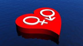 Heteroseksueel paar in rood hart dat in o drijft Stock Foto