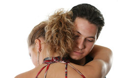 Heterosexual couple. The man and the woman gently embrace together Royalty Free Stock Image