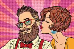 Heterosexual couple, beautiful woman kisses a hipster royalty free illustration