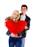Heterosexual couple with a big heart. On white background Stock Images