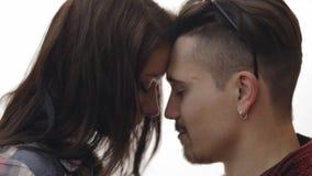 Heterosexual couple in studio stock video footage