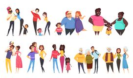 Heterosexual Families With Children Set. Set of heterosexual families with children of different ethnicity including elderly couples isolated vector illustration Stock Photo