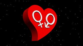Heterosexual love by night. One male and one female symbol representing a heterosexual couple in red heart in night with stars Stock Photography