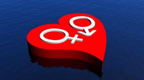 Heterosexual love on the ocean. One male and one female symbol representing a heterosexual couple in red heart floating in the ocean Stock Photo