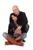 Heterosexual loving couple. Young Caucasian  heterosexual loving couple embracing each other,  Studio, white background Royalty Free Stock Photo