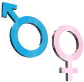 Heterosexual relationship sign. 3d render illustration of male and female signs Royalty Free Stock Photos