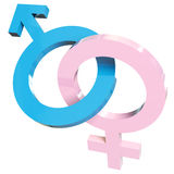 Heterosexual relationship sign. 3d render illustration of male and female signs Stock Photo