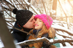 Heterosexuals on a date in the winter Stock Photo