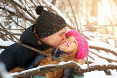 Heterosexuals on a date in the winter Royalty Free Stock Photography
