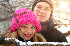 Heterosexuals on a date in the winter Royalty Free Stock Images