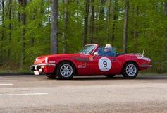 Hetlevrad person 1500 för 1975 Triumph på ADACEN Wurttemberg historiska Rallye 2013 Arkivbilder