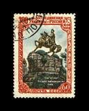 Hetman Bogdan Khmelnitsky no monumento da pedra do cavalo em Kiev, Ucrânia, URSS, cerca de 1954, fotografia de stock