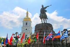 Hetman Bogdan Khmelnitsky statue and flags on Sofievska Square Stock Images
