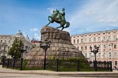 Hetman Bogdan Khmelnitsky statue in Kiev, Ukraine Stock Photos
