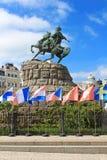 Hetman Bogdan Khmelnitsky statue on Sofievska Square Stock Photo