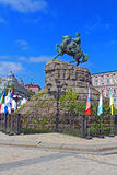 Hetman Bogdan Khmelnitsky statue on Sofievska Square Stock Photos