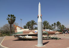 Hetz Arrow modern anti-ballistic missile and the Israel Aircraft Industries Kfir with its typical weapon loadout on display Stock Photography