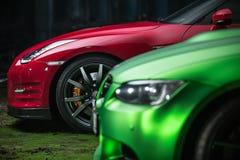Hetzwarte Nissan GT-R-stemmen Stock Foto