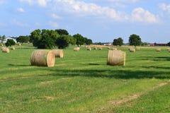Heu rollt auf einem Bauernhofgebiet Stockfoto