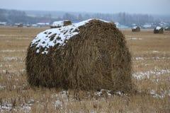 Heu rollt im Schnee auf einem gepflogenen Feld Stockfotos