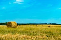 Heu- und Strohballen am Ende des Sommers Lizenzfreies Stockbild
