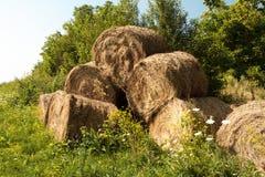 Heuballen auf einem ländlichen Feld Lizenzfreie Stockfotografie