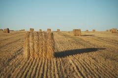 Heuballen auf Feld mit Weizenstroh und -himmel im Ackerland an s Lizenzfreie Stockfotografie