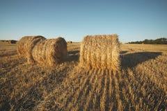 Heuballen auf Feld mit Weizenstroh und -himmel im Ackerland an s Lizenzfreie Stockbilder