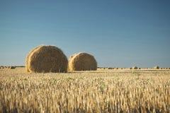 Heuballen auf Feld mit Weizenstroh und -himmel im Ackerland an s Stockfoto