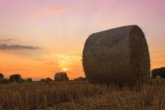 Heuballen bei Sonnenuntergang Lizenzfreie Stockbilder