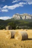 Heuen Sie Kautionen mit ausgedehnten Ansichten von Parque National de Ordesa nahe Ainsa, Huesca, Spanien in Pyrenäen-Bergen Lizenzfreie Stockfotos