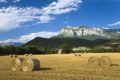 Heuen Sie Kautionen mit ausgedehnten Ansichten von Parque National de Ordesa nahe Ainsa, Huesca, Spanien in Pyrenäen-Bergen Lizenzfreie Stockfotografie