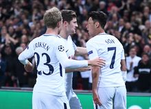 Heung-Min Son celebrate goal. Football players pictured during the UEFA Champions League Group H game between Tottenham Hotspur and Borussia Dortmund on Stock Photos
