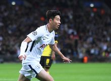 Heung-Min Son celebrates goal. Football players pictured during the UEFA Champions League Group H game between Tottenham Hotspur and Borussia Dortmund on Royalty Free Stock Photos